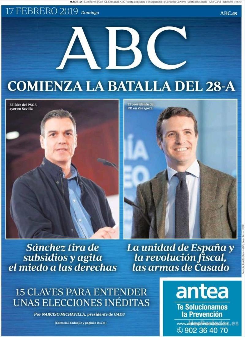 Portada ABC 2019-02-18