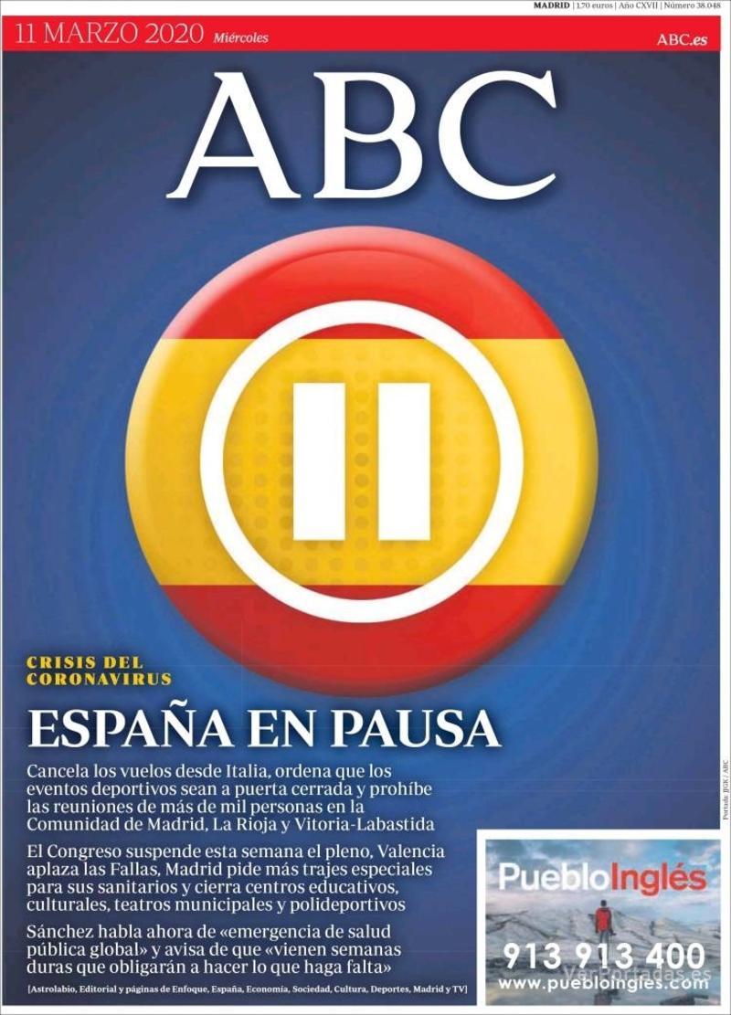Portada ABC 2020-03-12