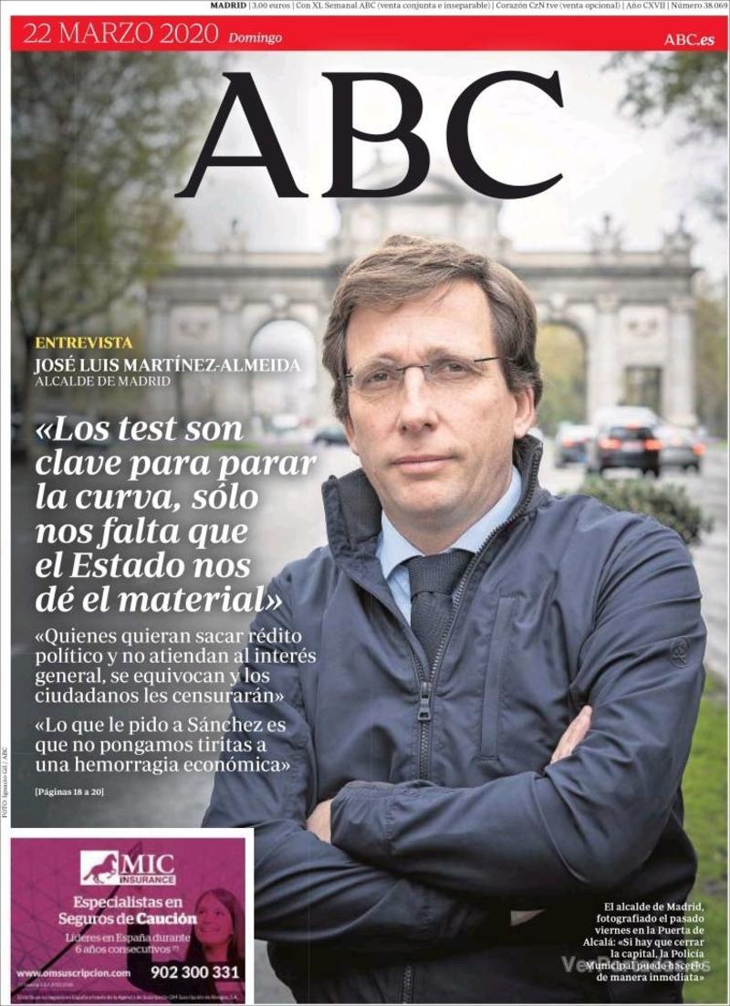 Portada ABC 2020-03-23