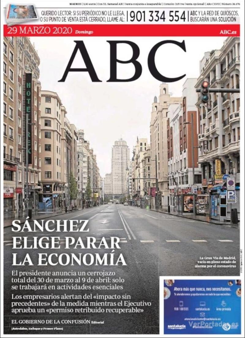 Portada ABC 2020-03-30