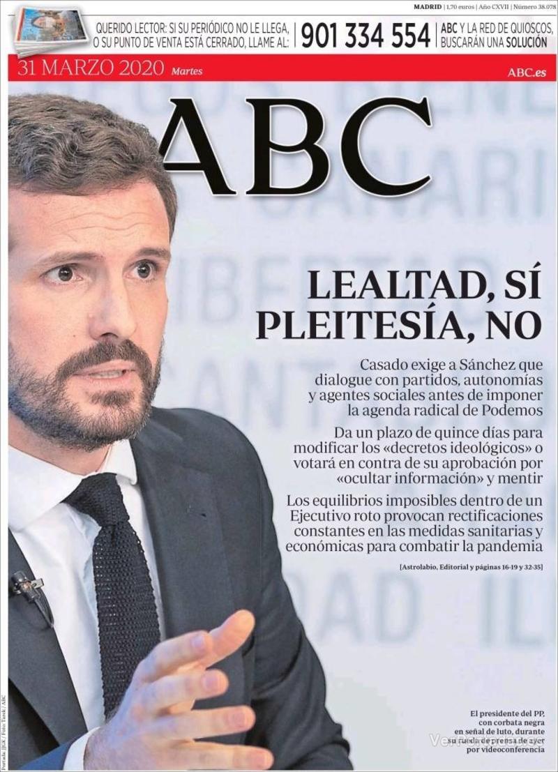 Portada ABC 2020-04-01
