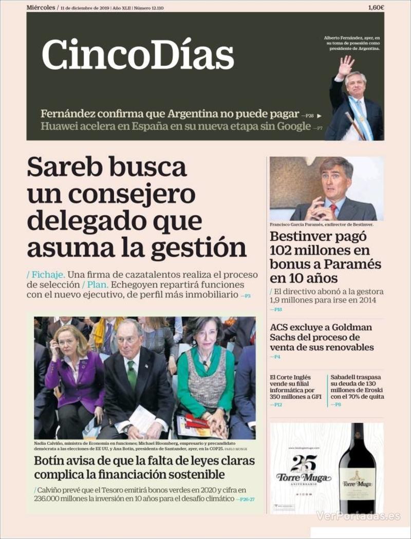 Portada El Economista 2019-12-11