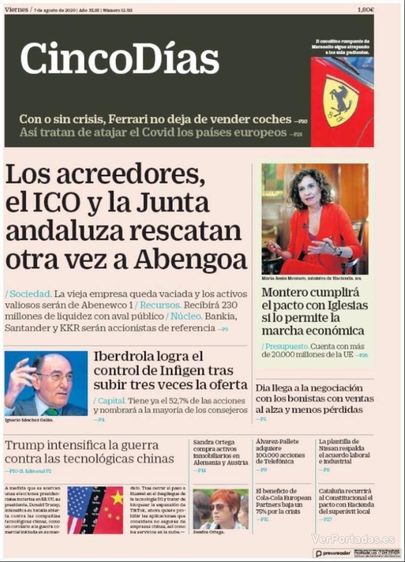 Portada El Economista 2020-08-07