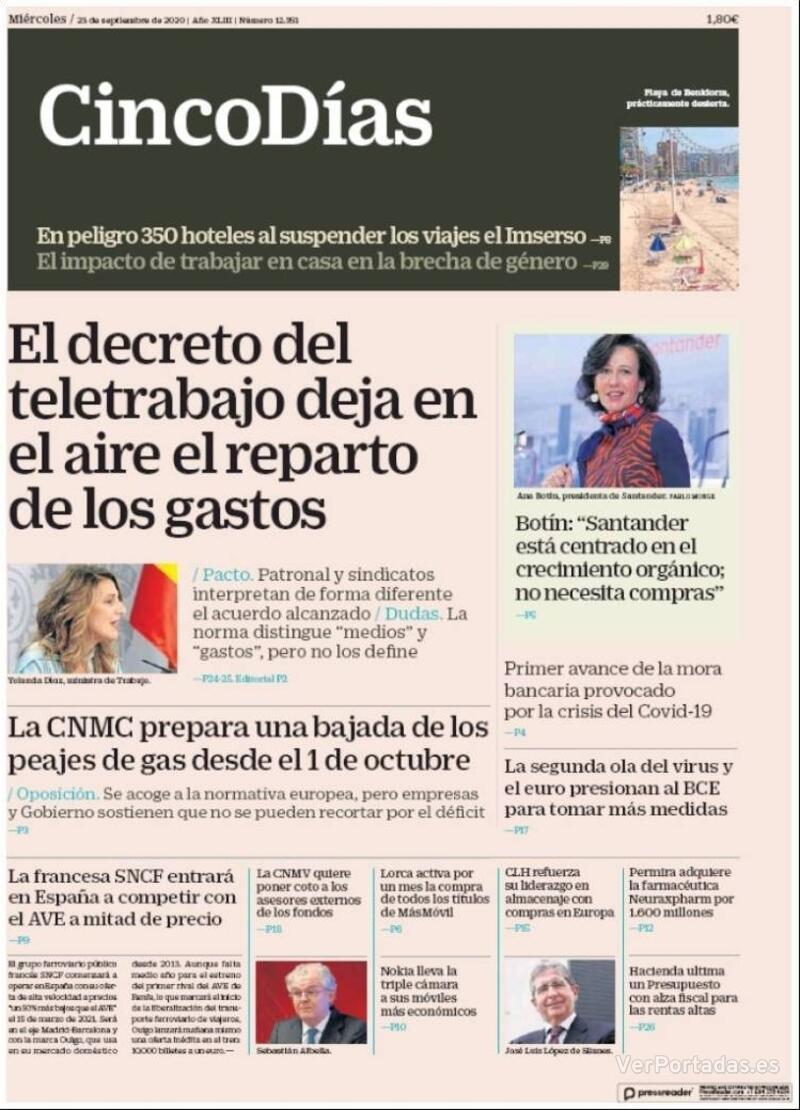 Portada El Economista 2020-09-23