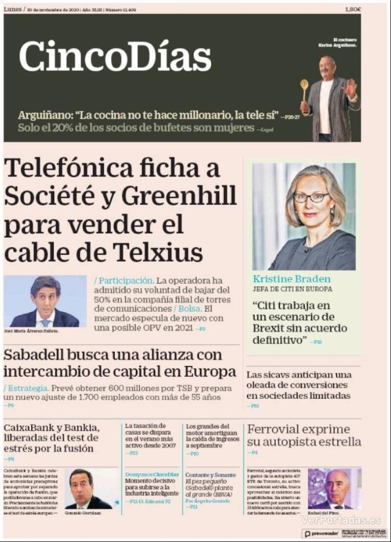Portada El Economista 2020-11-30