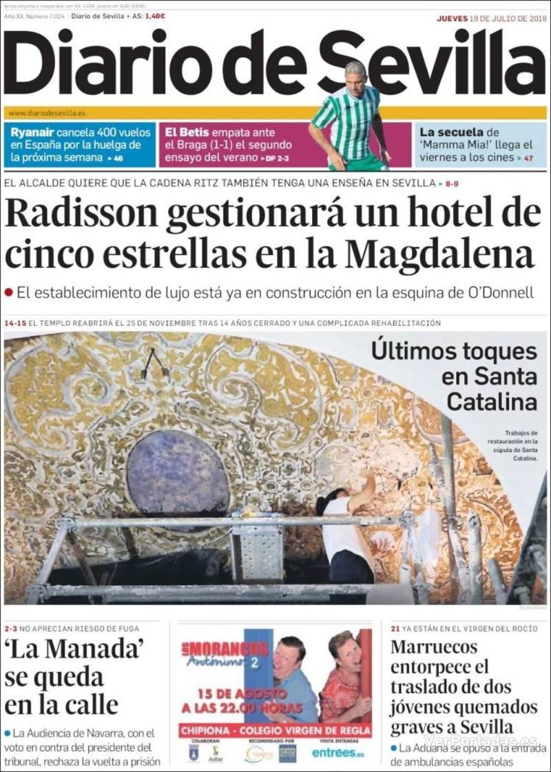 Portada Diario de Sevilla 2018-07-19