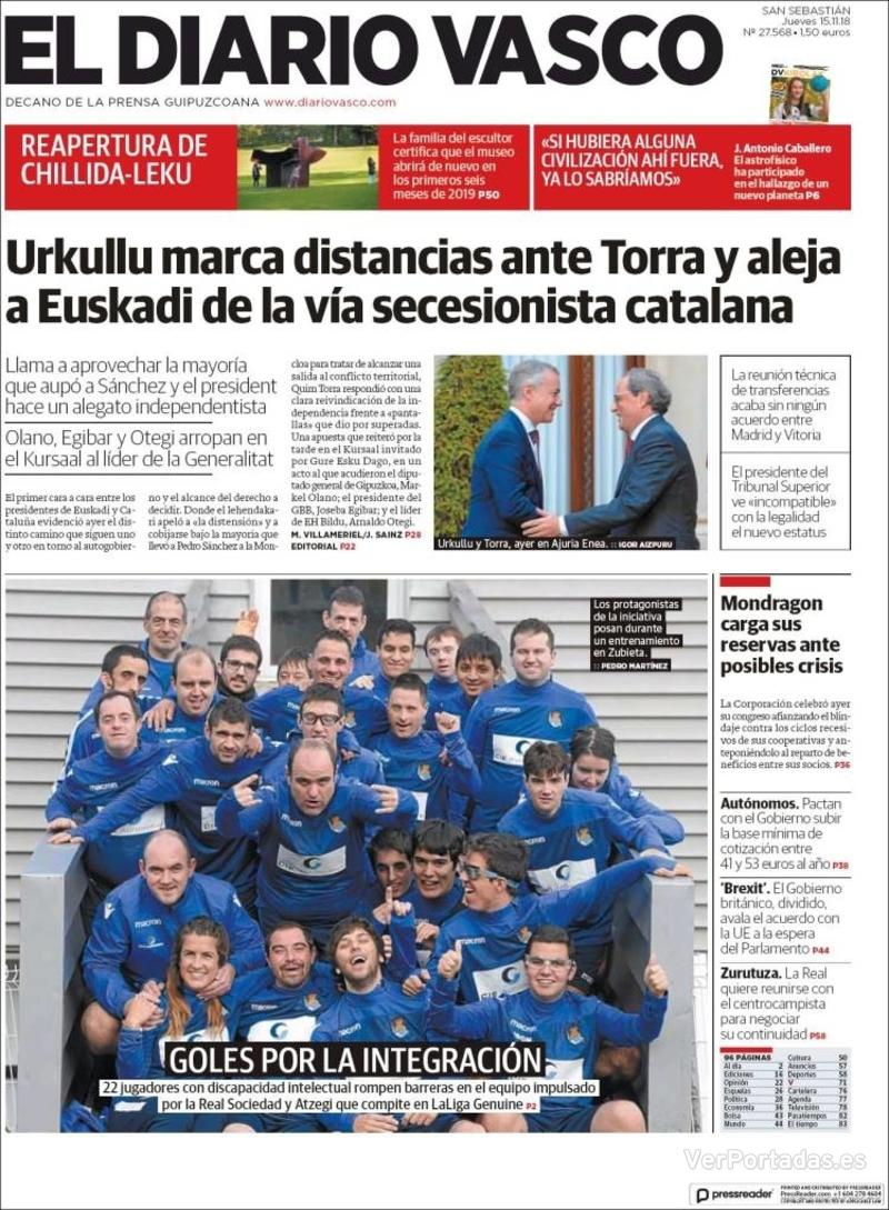 Portada El Diario Vasco 2018-11-15