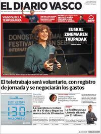 Portada El Diario Vasco 2020-09-23