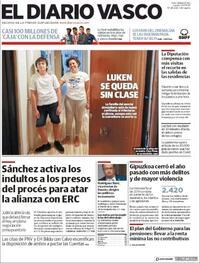 Portada El Diario Vasco 2020-09-24