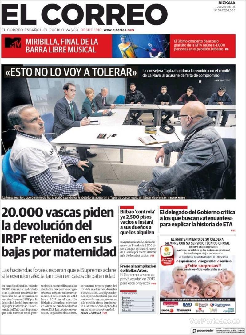 Portada El Correo 2018-11-02