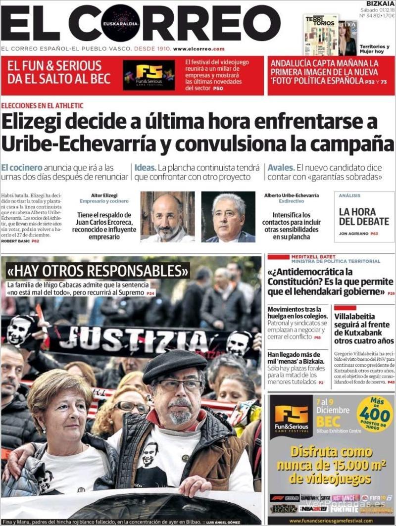 Portada El Correo 2018-12-02