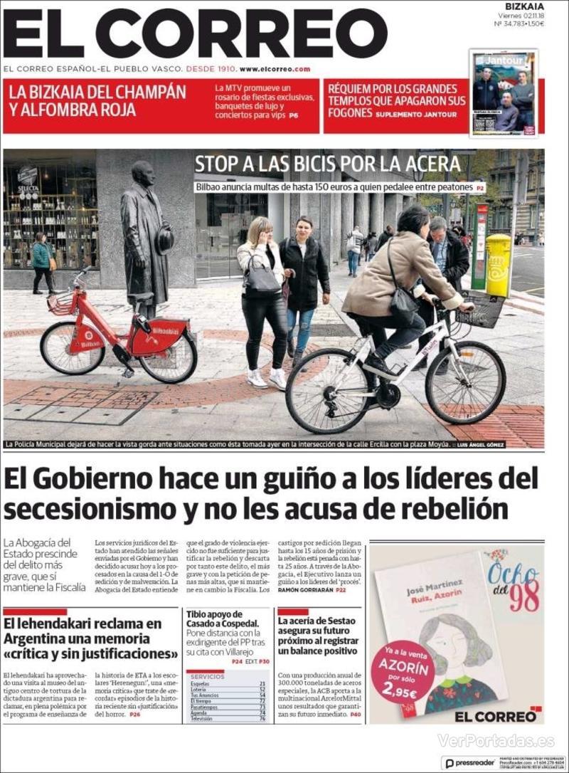 Portada El Correo 2018-11-03