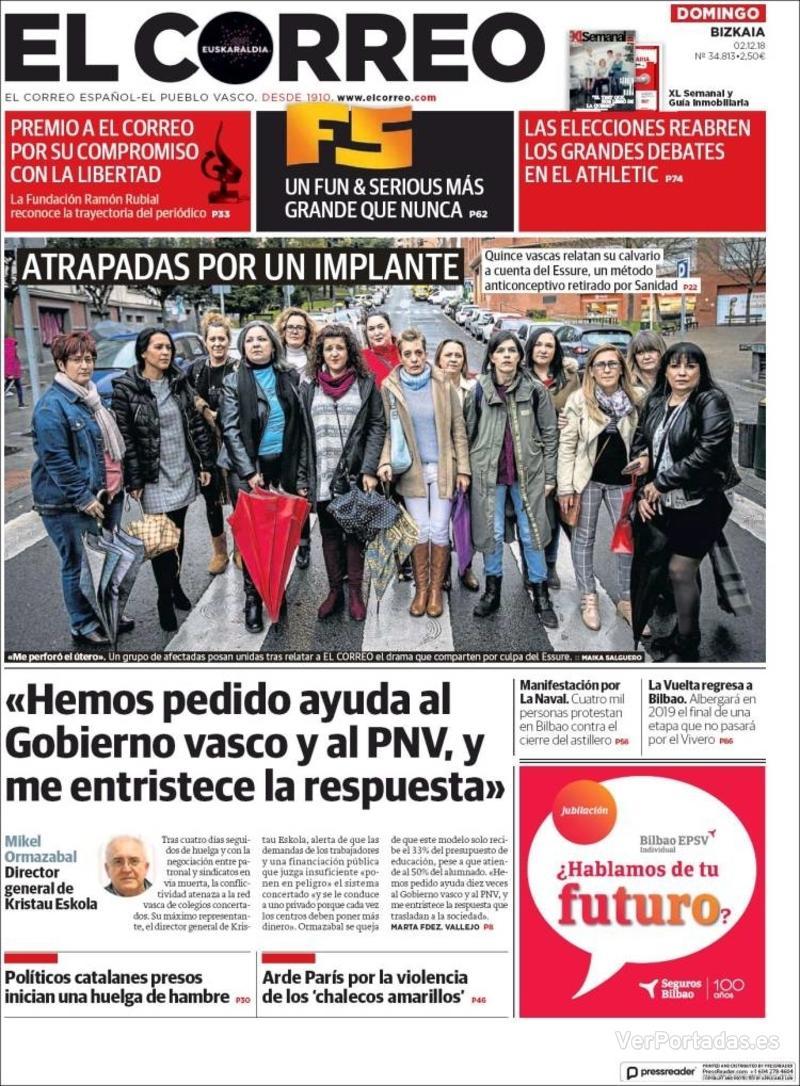 Portada El Correo 2018-12-03