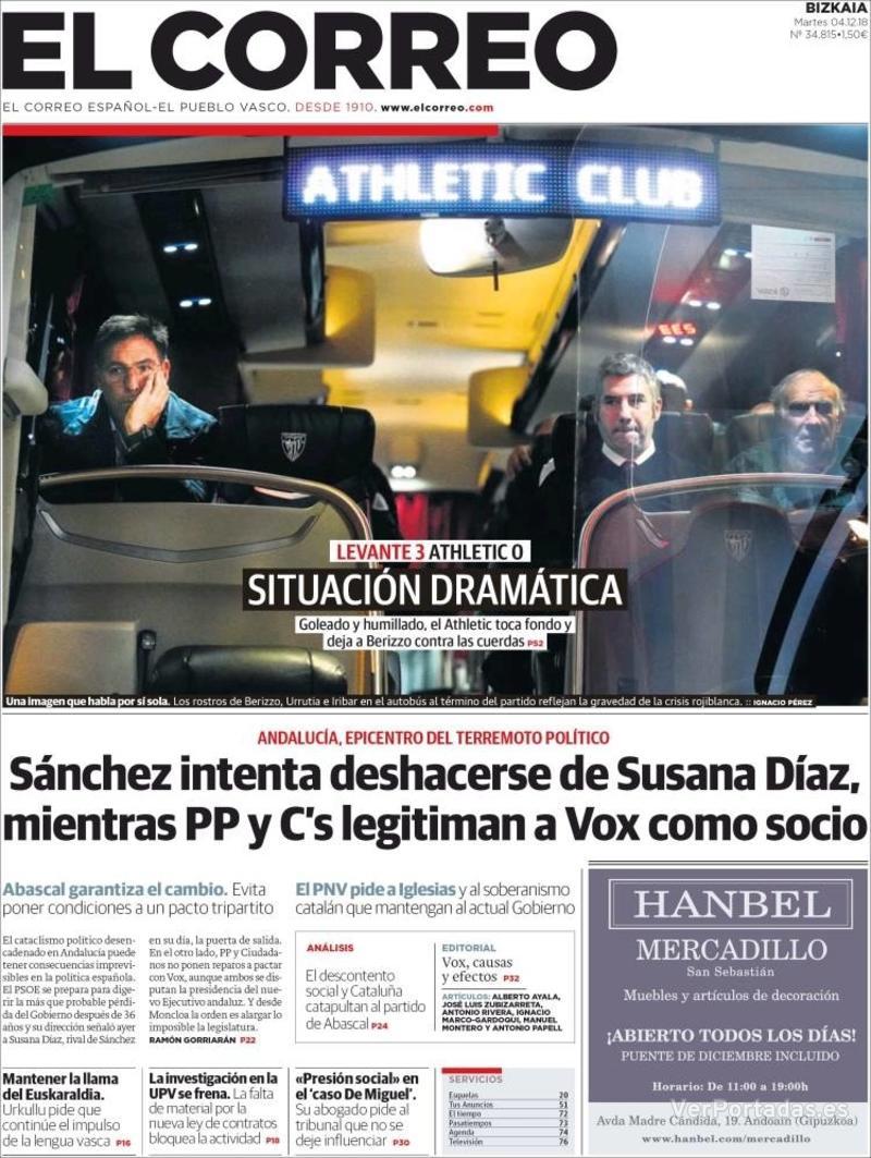 Portada El Correo 2018-12-05