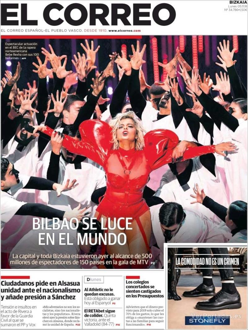 Portada El Correo 2018-11-06