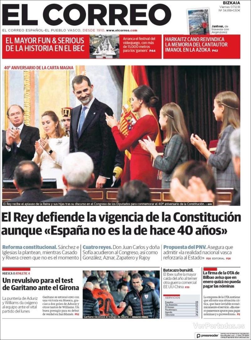 Portada El Correo 2018-12-08