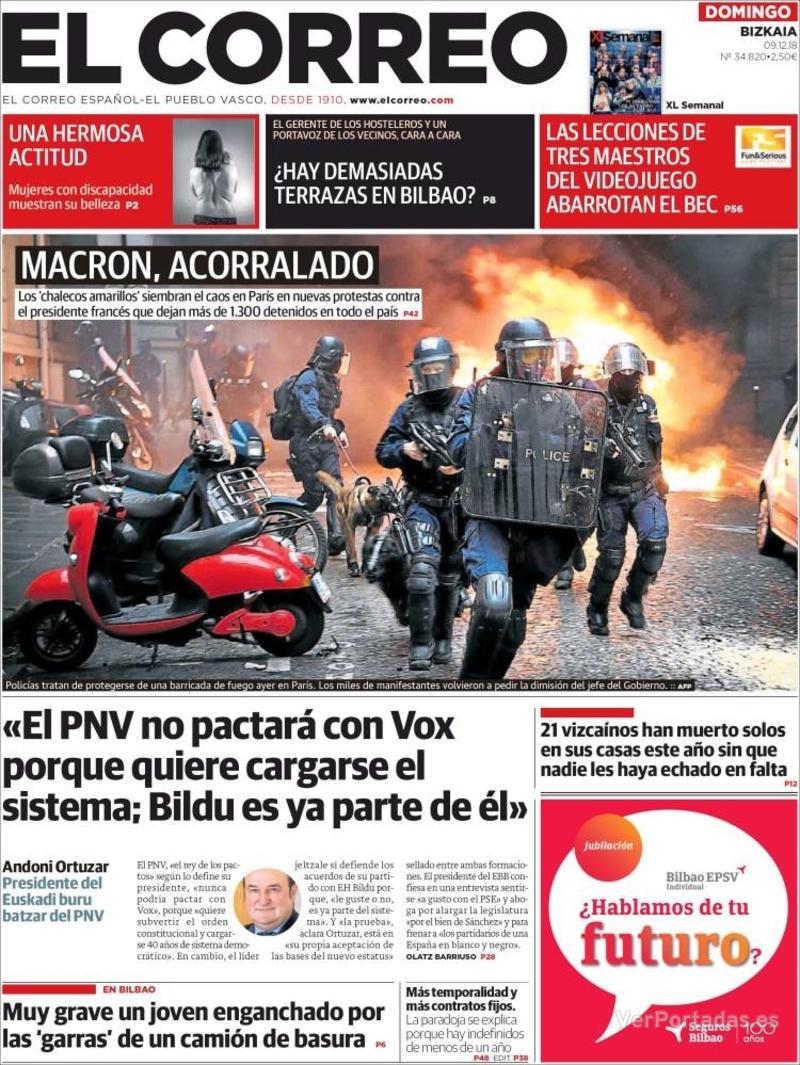 Portada El Correo 2018-12-10