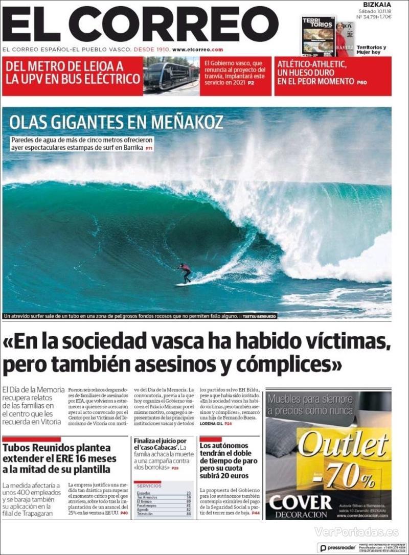 Portada El Correo 2018-11-11