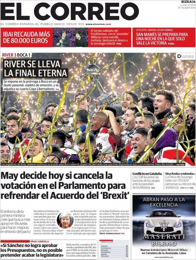 Portada El Correo 2018-12-11