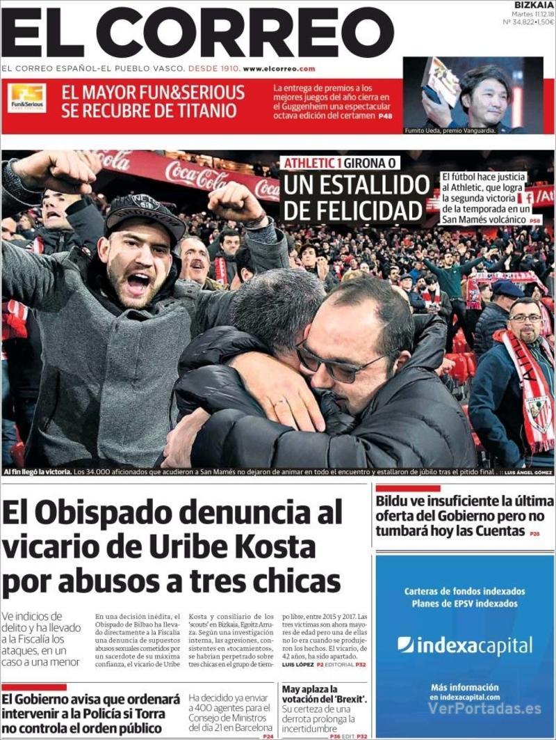 Portada El Correo 2018-12-12