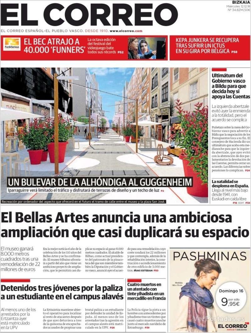 Portada El Correo 2018-12-13