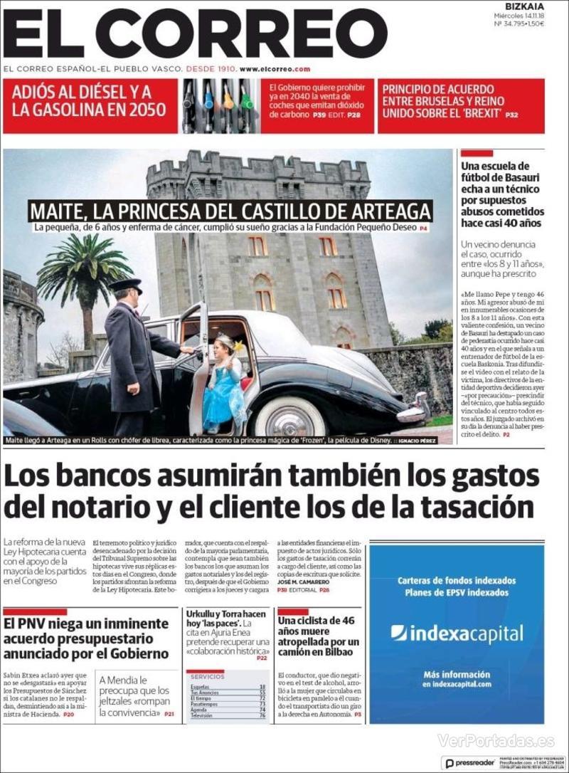 Portada El Correo 2018-11-15