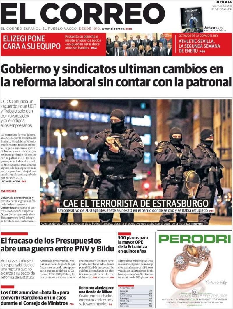 Portada El Correo 2018-12-15