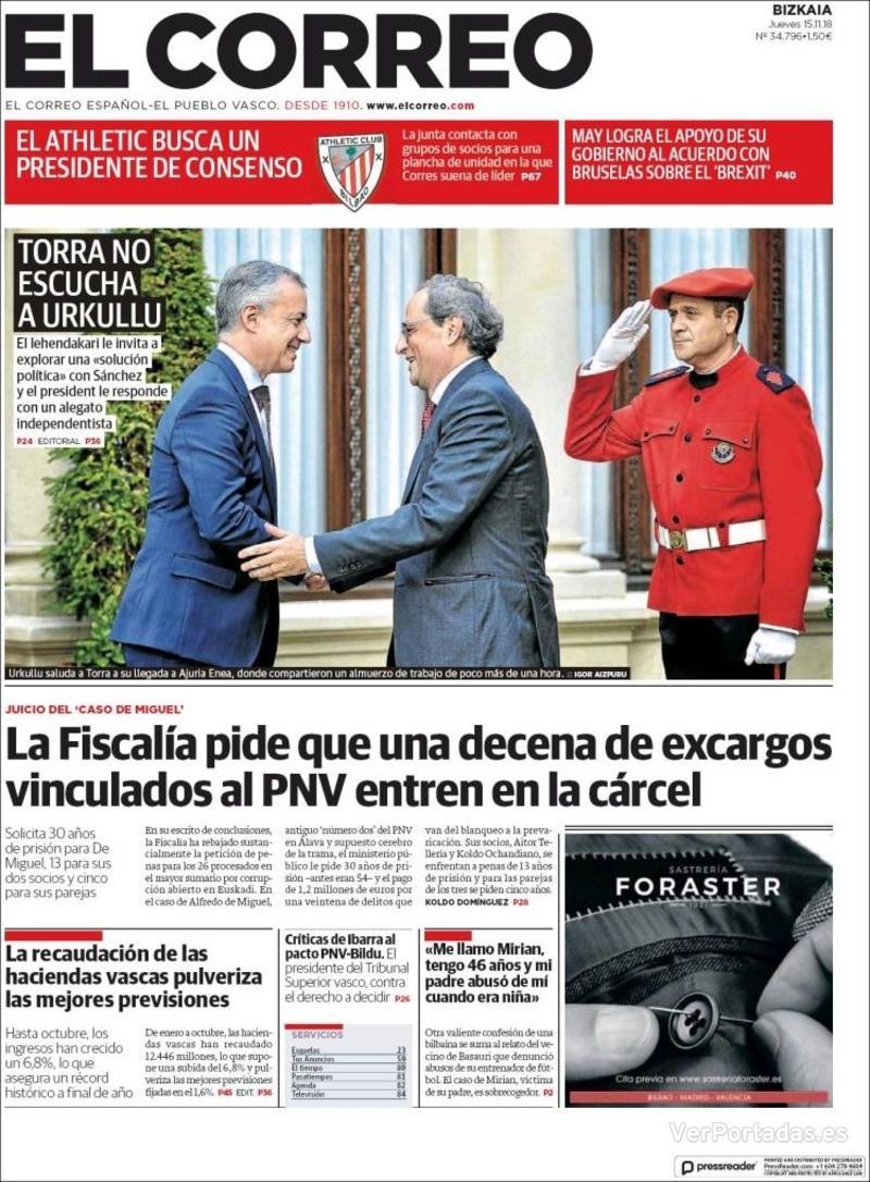 Portada El Correo 2018-11-16