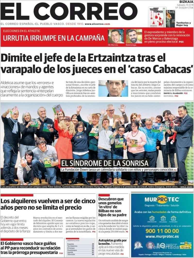 Portada El Correo 2018-12-16