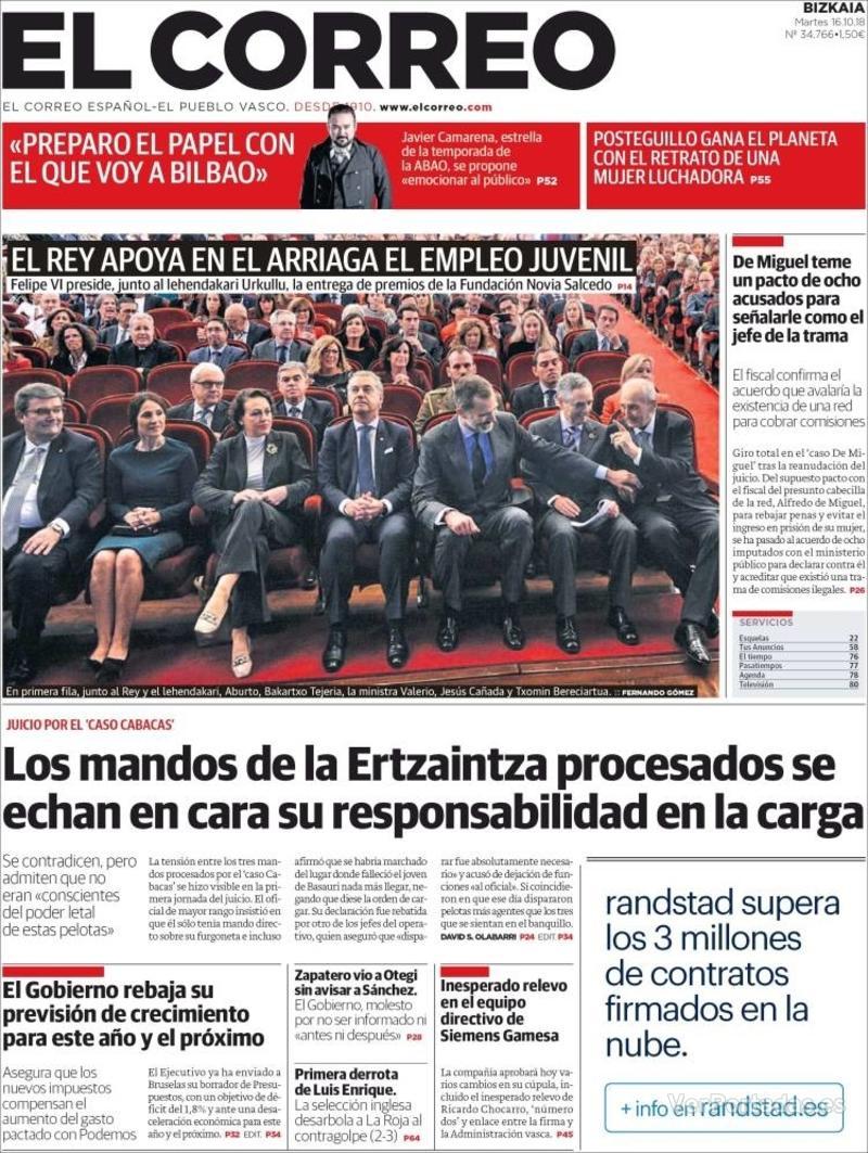 Portada El Correo 2018-10-17