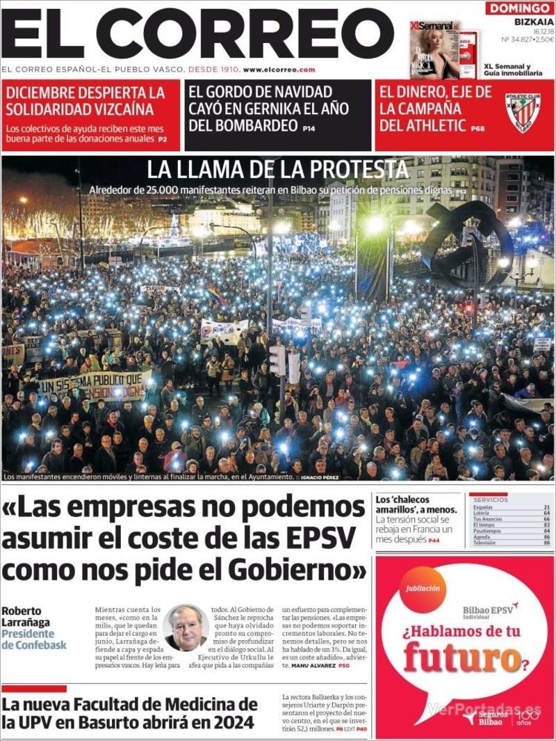 Portada El Correo 2018-12-17