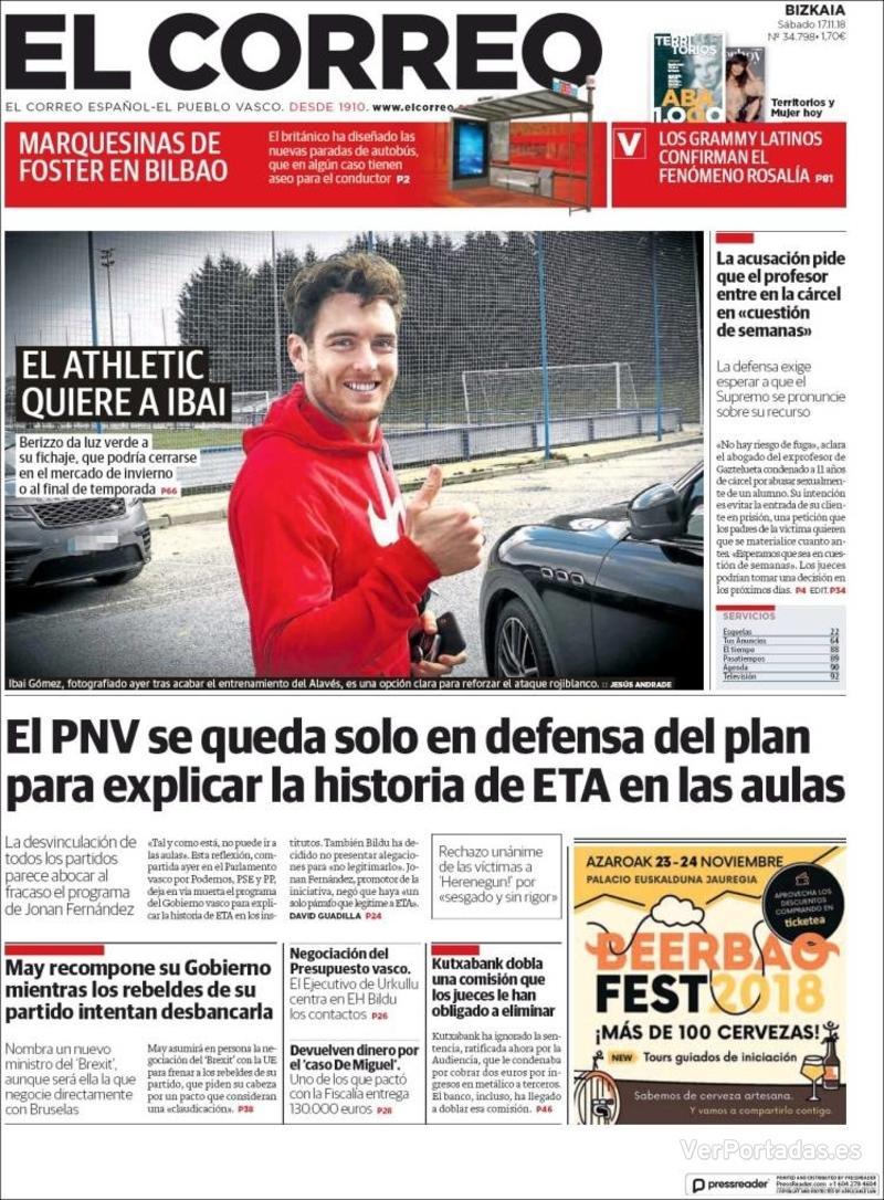 Portada El Correo 2018-11-18