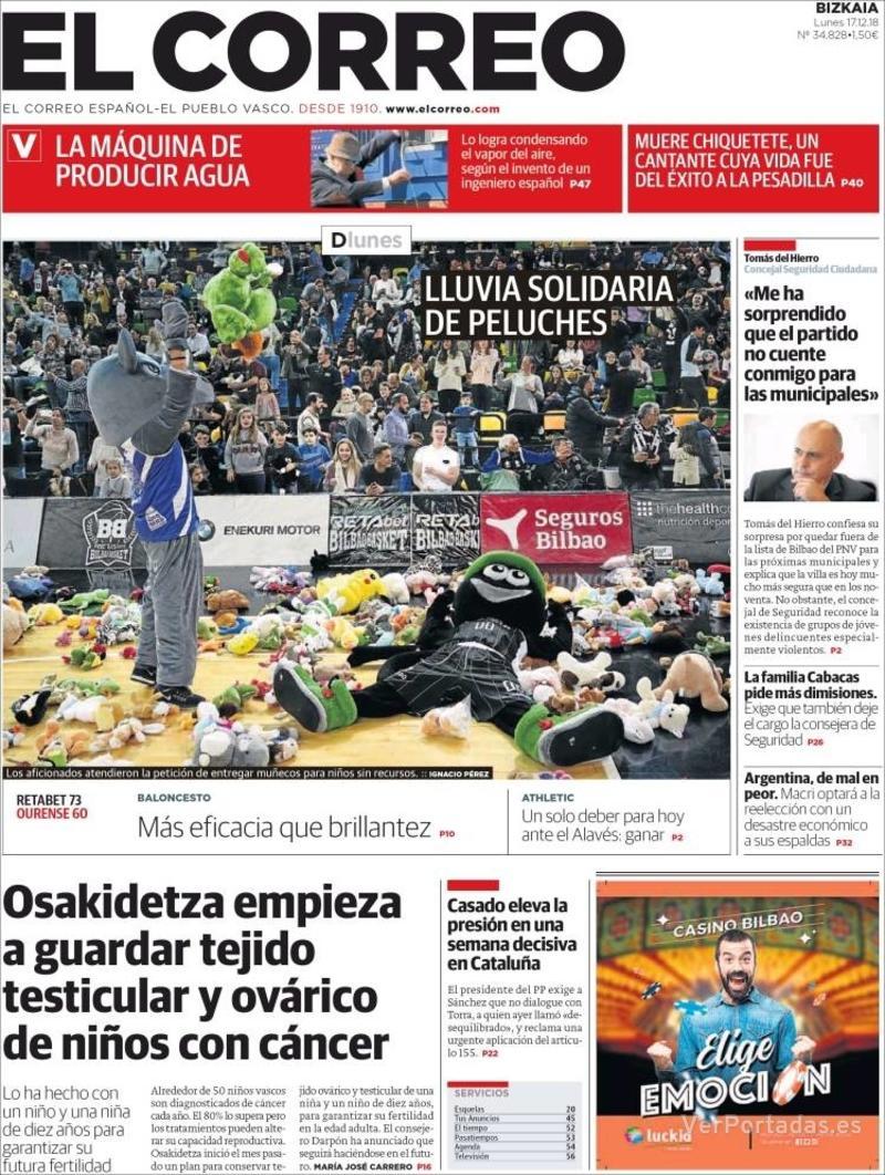 Portada El Correo 2018-12-18