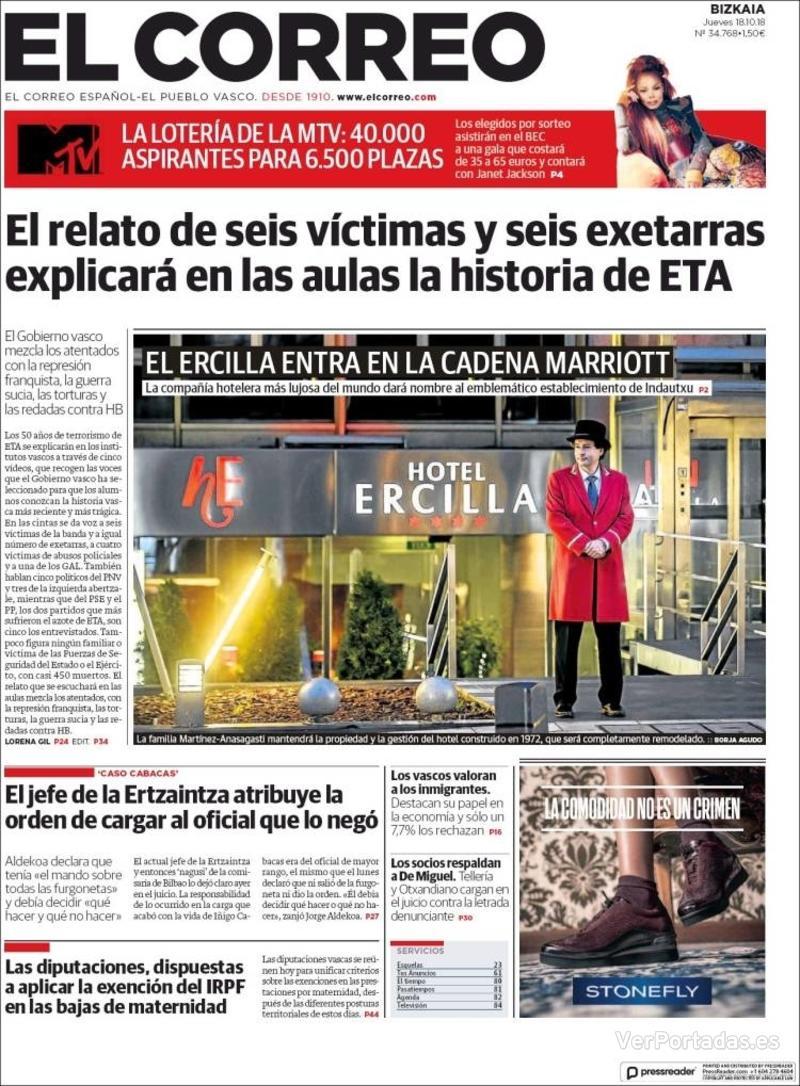 Portada El Correo 2018-10-19