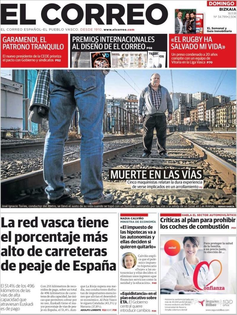 Portada El Correo 2018-11-19