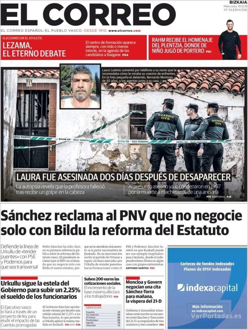Portada El Correo 2018-12-20