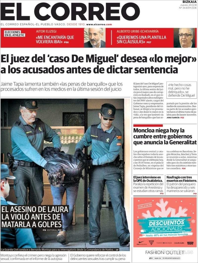 Portada El Correo 2018-12-21