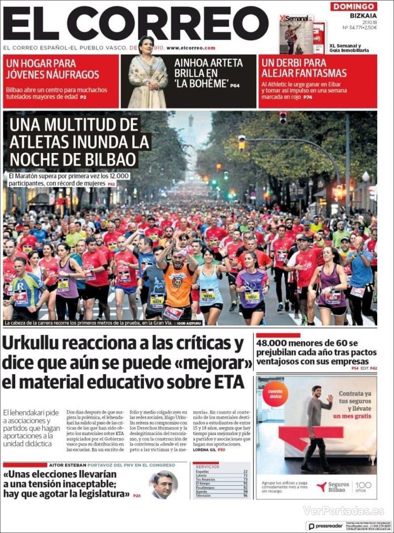 Portada El Correo 2018-10-22