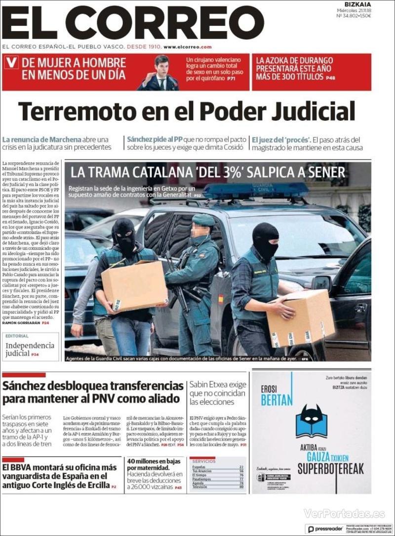 Portada El Correo 2018-11-22