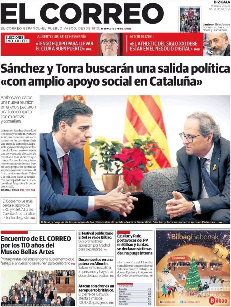 Portada El Correo 2018-12-22