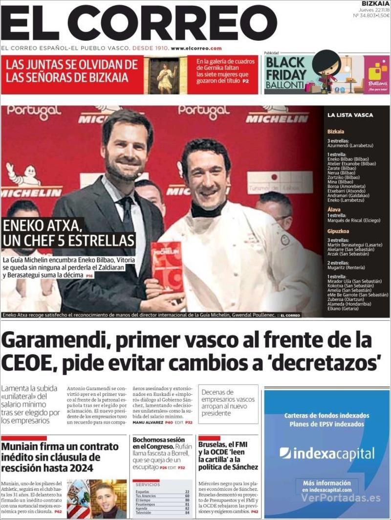 Portada El Correo 2018-11-23
