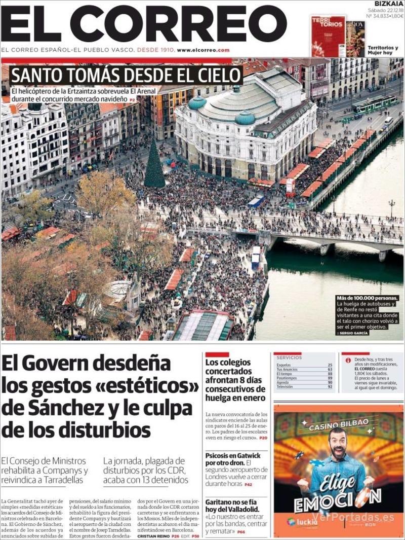 Portada El Correo 2018-12-23