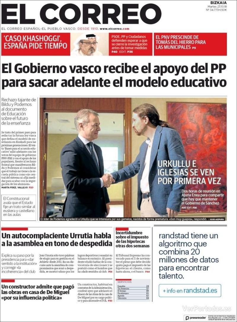 Portada El Correo 2018-10-24