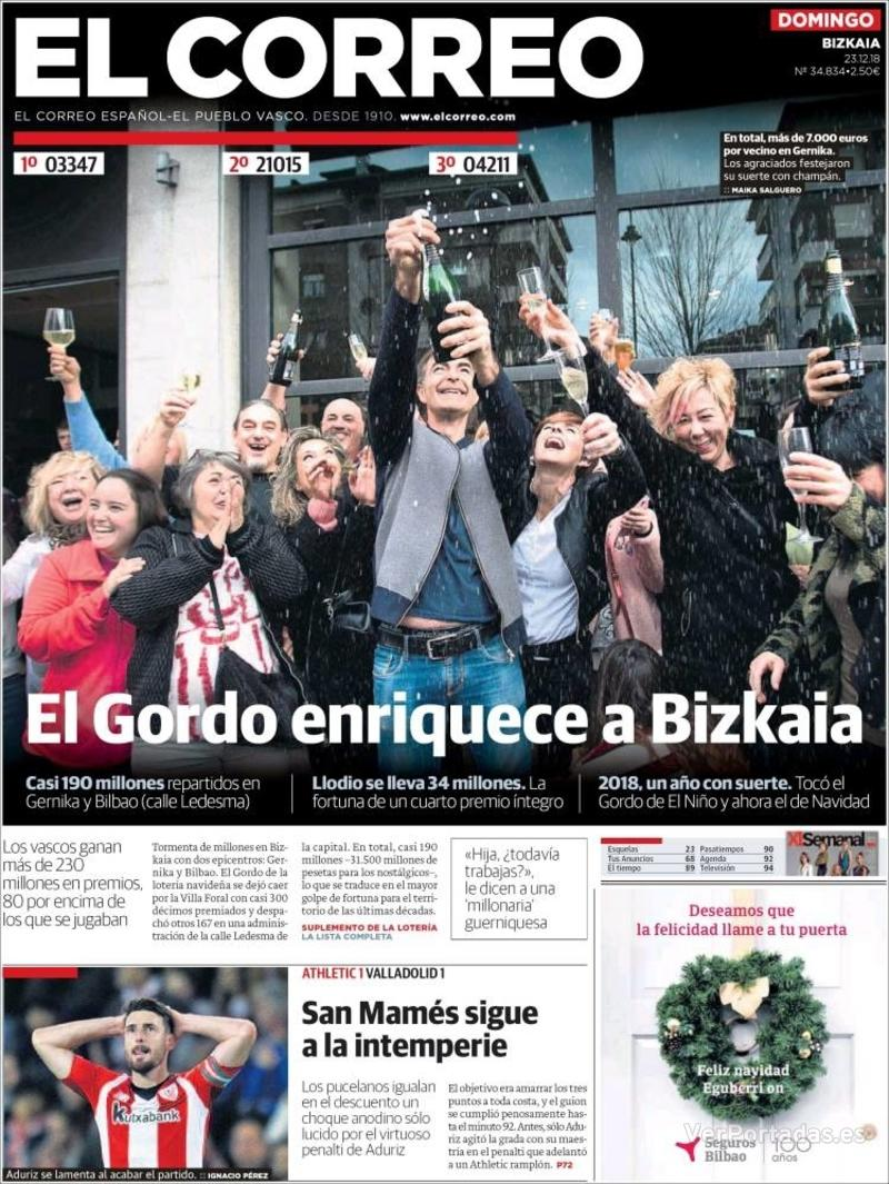 Portada El Correo 2018-12-24