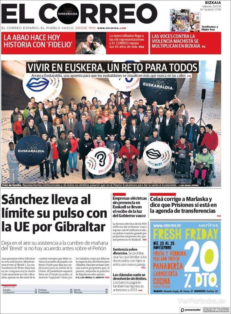 Portada El Correo 2018-11-25