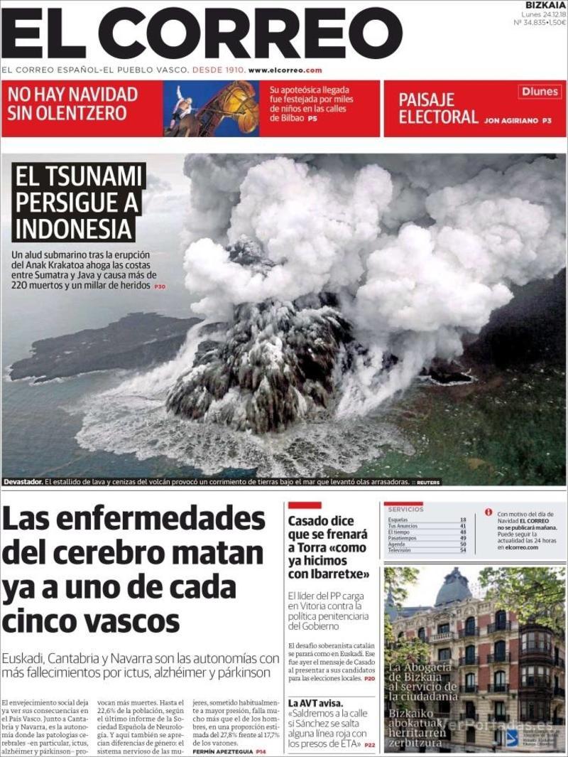 Portada El Correo 2018-12-26