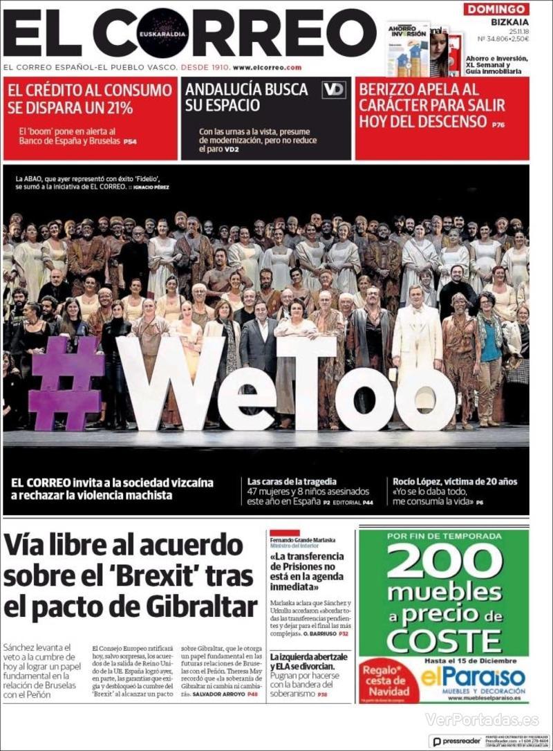 Portada El Correo 2018-11-26