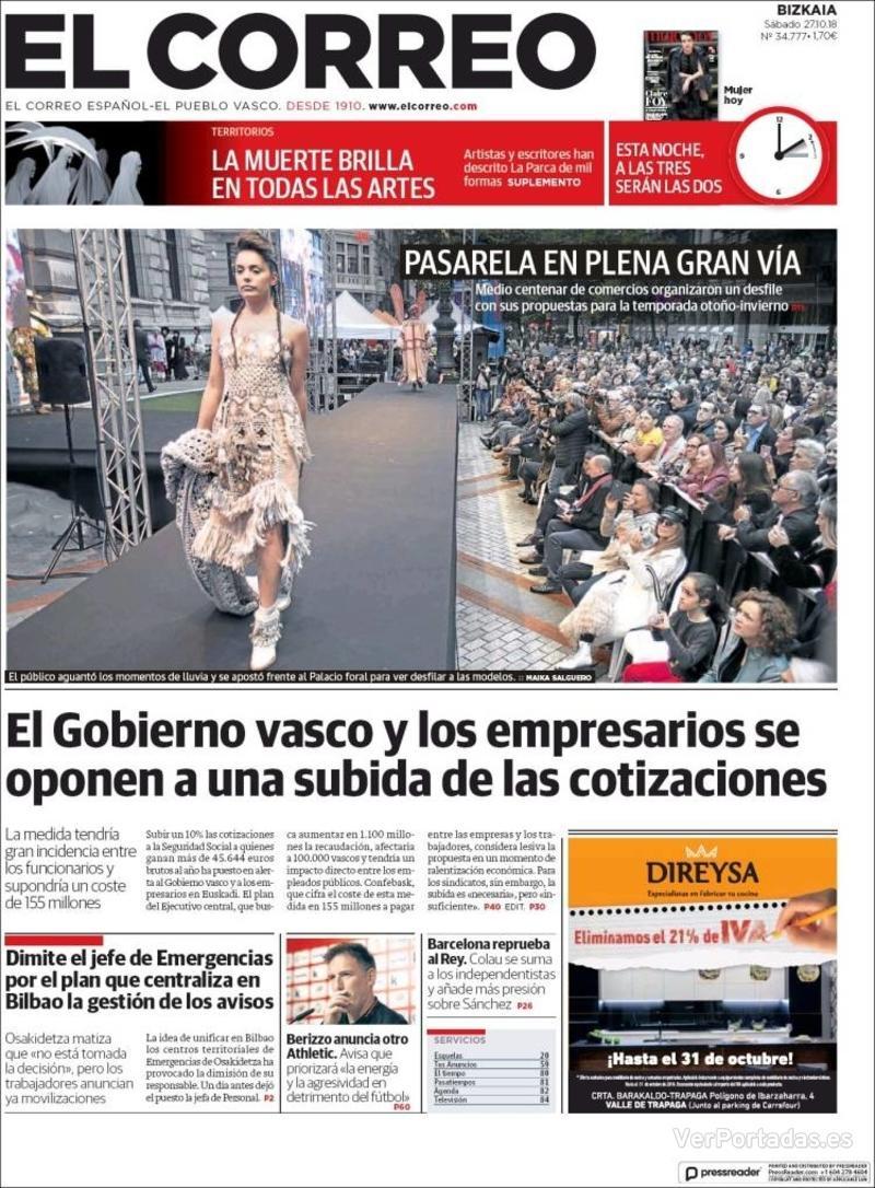 Portada El Correo 2018-10-28