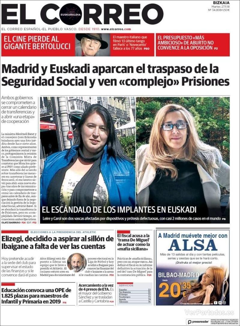 Portada El Correo 2018-11-28