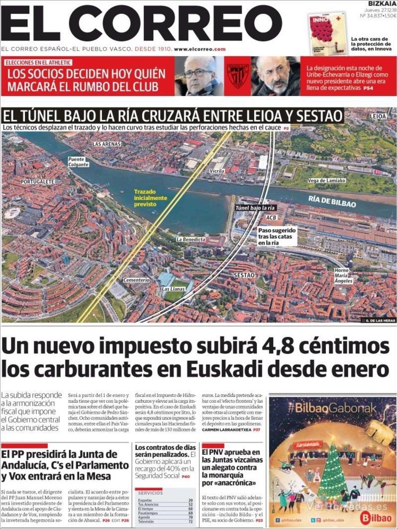 Portada El Correo 2018-12-28